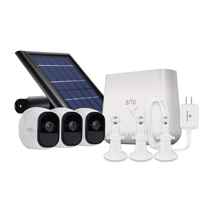 Arlo Pro 3-pack Cam Kit with Solar Panel, Outdoor Quick Charger & 3-pack Wall Mount