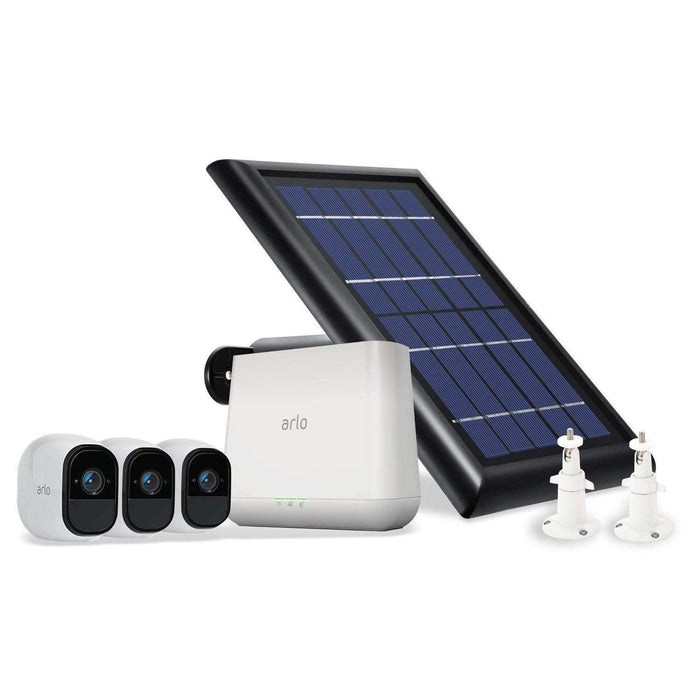Arlo Pro 3-Pack Camera Kit (VMS4330) Bundled with Solar Panel and 2-Pack White Adjustable Indoor/Outdoor Wall Mount by Wasserstein | Wasserstein Home