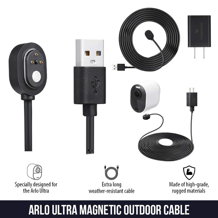 Wasserstein Weatherproof Outdoor Magnetic Charging Cable w/ Quick Charge Power Adapter Compatible w/ Arlo Ultra/Ultra 2, Arlo Pro 3/Pro 4
