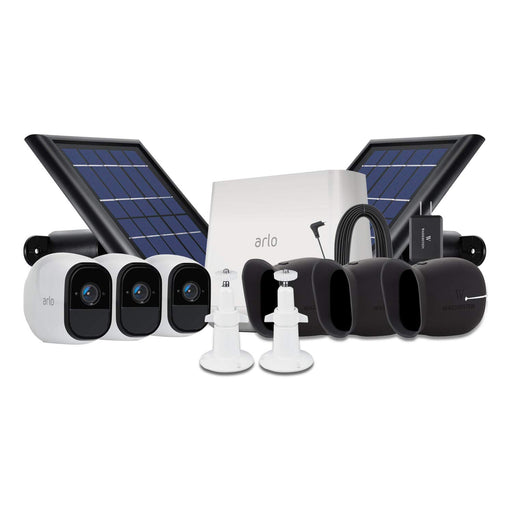 Arlo Pro 3-pack Cam Kit with 2-pack Solar Panel, Outdoor Quick Charger, 2-pack Wall Mount & 3-pack Protective Skins
