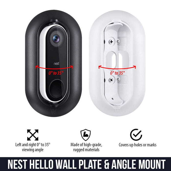 Wasserstein - Weather- and UV-resistant Wall Plate and Adjustable Angle Wall Mount Bundle for Nest Hello Video Doorbell