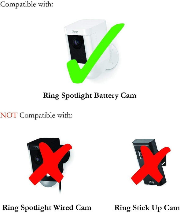 Metal Mount for Ring Spotlight Cam Battery - Adjustable Indoor/Outdoor Security Mount by Wasserstein