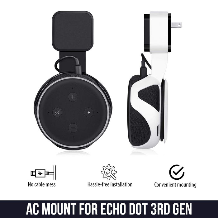 AC Outlet Mount Compatible with Dot (3rd Gen) Flexible mounting Option for Your Alexa Smart Speaker