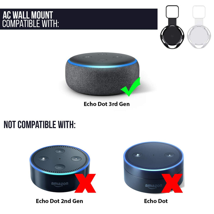 AC Outlet Mount Compatible with Echo Dot (3rd Gen) - Flexible mounting Option for Your Alexa Smart Speaker | Wasserstein Home