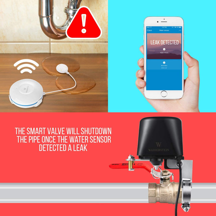 Smart Wi-Fi Water Sensor bundled with Valve Controller - iOS/Android App Control Water Shut Off Valve Compatible with Alexa, and Google Home