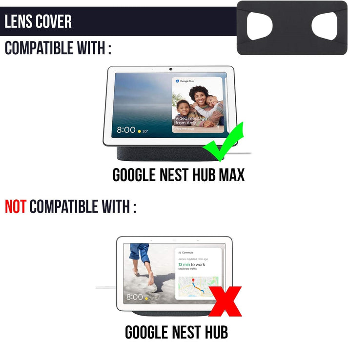 [Official Made for Google] Webcam Lens Cover Slider Compatible with Google Nest Hub Max (3-Pack)