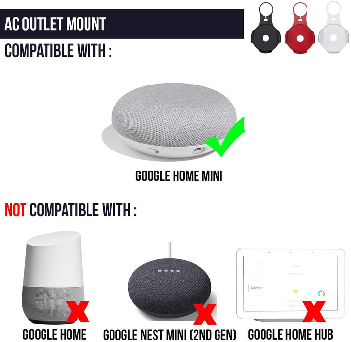 Wasserstein AC Outlet Mount Compatible with Google Home Mini - Flexible mounting Option for Your Smart Speaker
