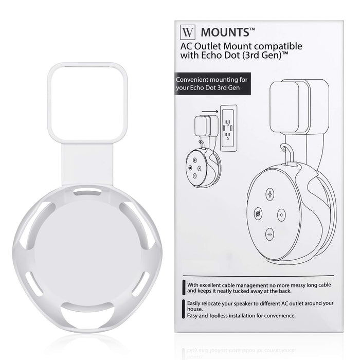 Wasserstein AC Outlet Mount Compatible with Dot (3rd Gen) - Flexible mounting Option for Your Alexa Smart Speaker