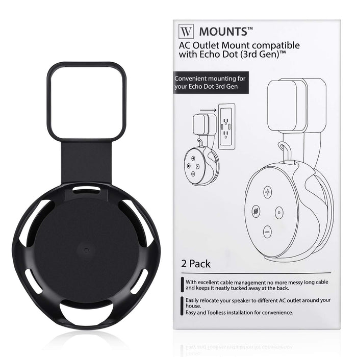 Wasserstein AC Outlet Mount Compatible with Dot (3rd Gen) - Flexible mounting Option for Your Alexa (1 Pack, Black)