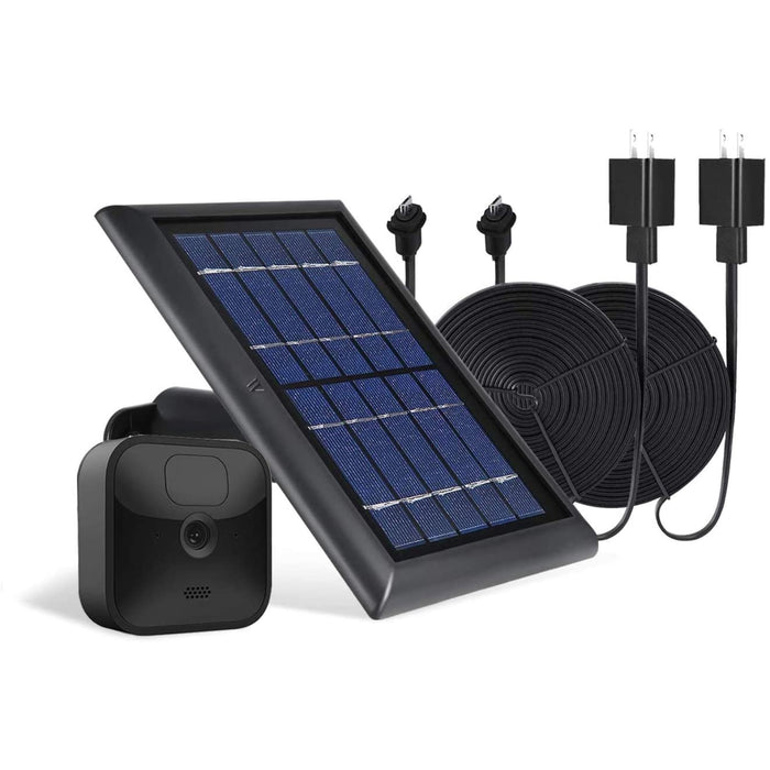 Wasserstein Solar Panel Bundled with 2-Pack Power Cable Compatible with Blink Outdoor & Blink XT2/XT