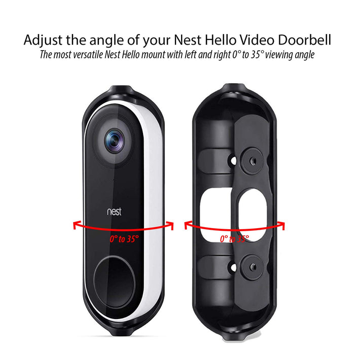 Wasserstein Weather-resistant Wall Plate and Adjustable Angle Wall Mount for Google Nest Hello Video Doorbell