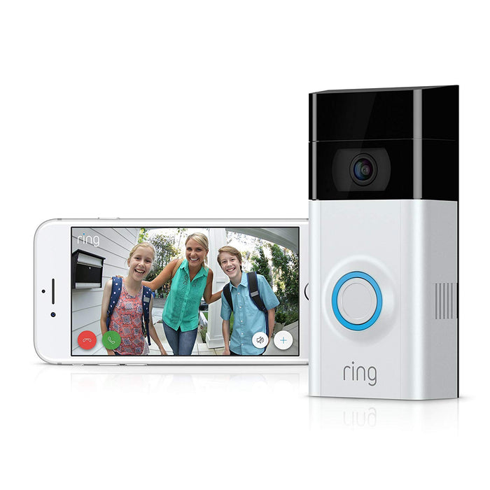 Ring Video Doorbell 2 & Black Solar Charger Mount Bundle