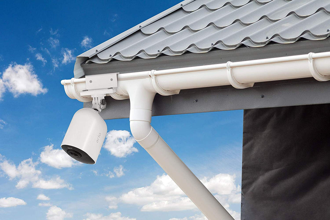 Wasserstein Weatherproof Gutter Mount Compatible with Arlo Ultra, Pro, Pro 2 & HD (White)