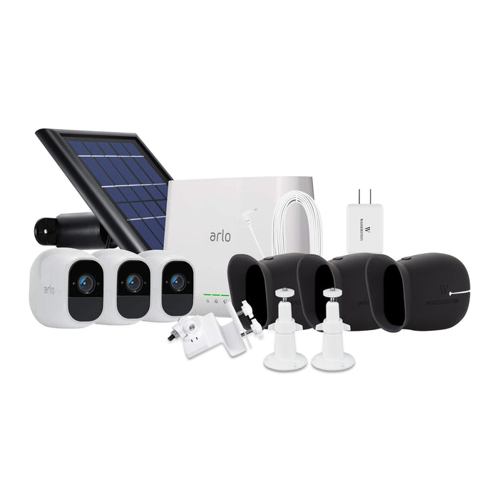 Arlo Pro 2 3-pack Cam Kit with Solar Panel, Outdoor Quick Charger, 2-pack Wall Mount, Gutter Mount, 3-pack Silicone Skin