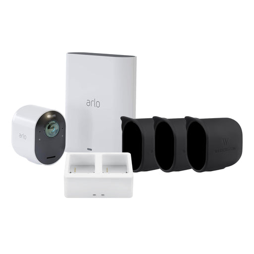 Arlo Ultra 1 Camera Kit with Charging Station and Silicone Skin Bundle