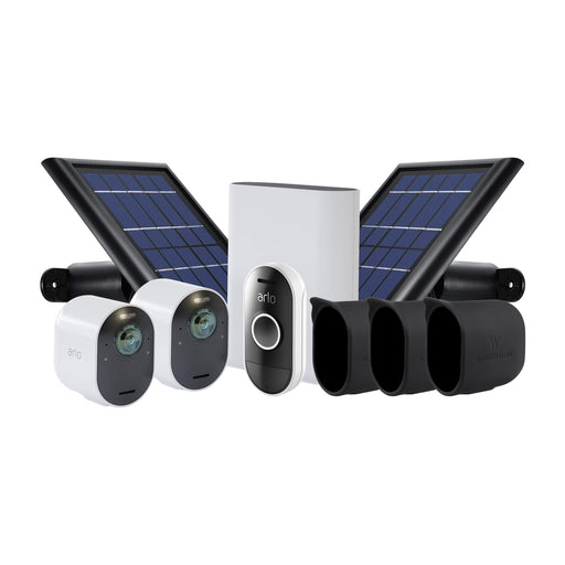 Arlo Ultra 2-pack Cam Kit with 2 Solar Panels, 3-pack Protective Skins & Arlo Audio Doorbell