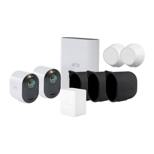 Arlo Ultra 2-Pack Camera Kit (VMS5240) Bundled with Rechargeable Battery, 2-Pack White Magnetic Mount, and 3-Pack Black Protective Silicone Skin | Wasserstein Home