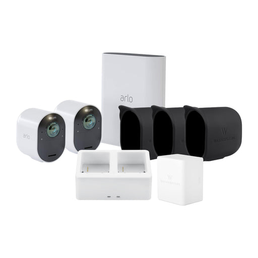 Arlo Ultra 2 Camera Kit with Battery, Charging Station and Skin Bundle