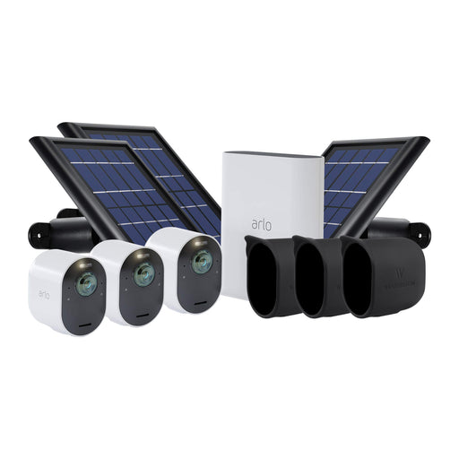 Arlo Ultra 3-pack Cam Kit with 3-pack Solar Panel & 3-pack Protective Skins with Sunroof