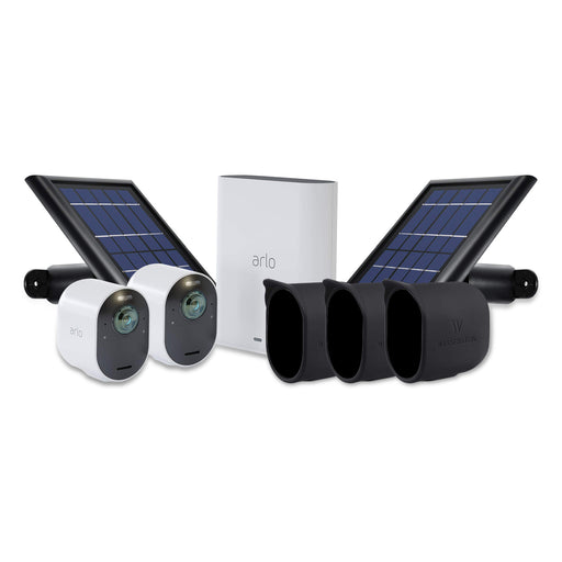 Arlo Ultra 2-pack Cam with Quick Charger, 2-pack Solar Panel & 3-pack Protective Skins with Sunroof