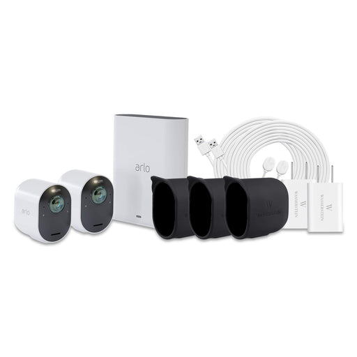 Arlo Ultra 2-pack Cam with Quick Charger, 2-pack Outdoor Magnetic Charging Cable & 3-pack Protective Skins with Sunroof
