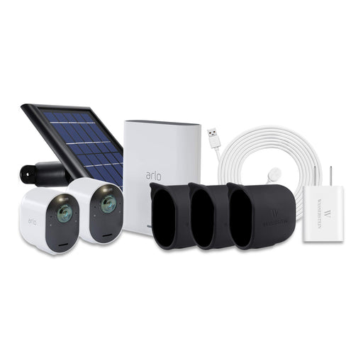 Arlo Ultra 2-pack Cam Kit with Quick Charger, Outdoor Magnetic Charging Cable, Solar Panel & 3-pack Protective Skins with Sunroof