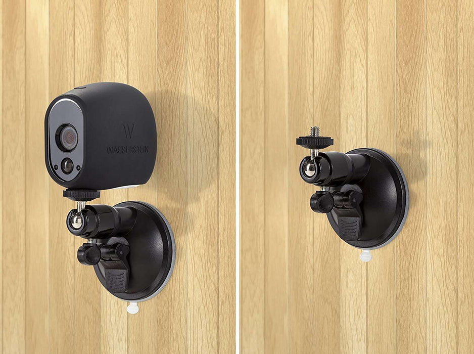 Smart Security Suction Cup Wall Mount- Adjustable Indoor/Outdoor Suction Cup Mount Compatible with Arlo Cam, Arlo Ultra, and Other Compatible Models (2 Pack) | Wasserstein Home