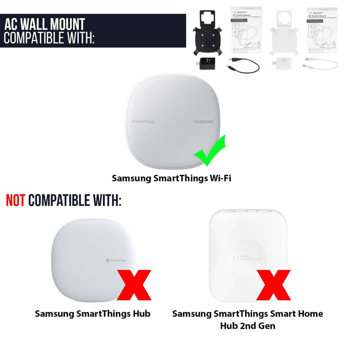 AC Outlet Mount Compatible with Samsung SmartThings WiFi  | Wasserstein Home
