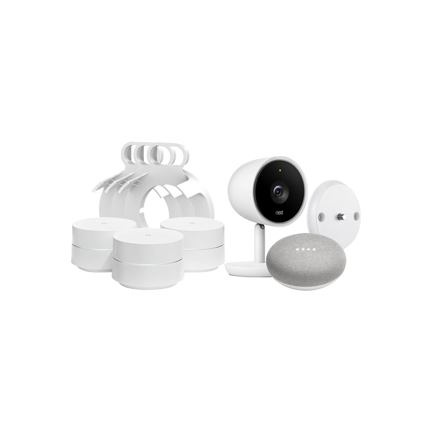 Google Home Mini, 3-Pack Google WiFi System, and Nest Cam IQ Indoor Camera  Bundled with AC Outlet Mount, and Magnetic Wall Mount