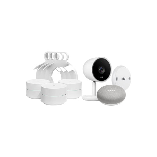 Nest Cam IQ Indoor, Google Home Mini and Google WiFi with Mount Bundle