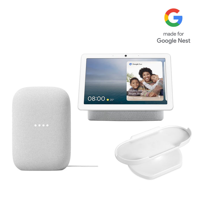 Google Nest Audio and Google Nest Hub Max with Adjustable Stand Bundle
