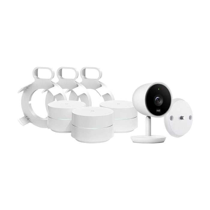 3-Pack Google WiFi System and Nest Cam IQ Indoor Camera Bundled with AC Outlet Mount and Magnetic Wall Mount | Wasserstein Home