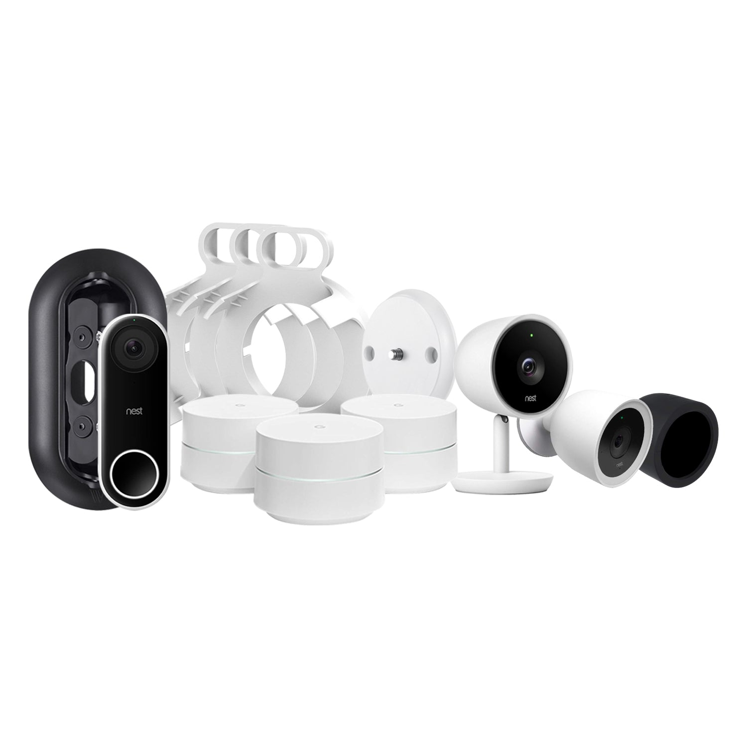 3-Pack Google WiFi System, Nest Cam IQ Indoor & IQ Outdoor Camera, and Nest  Hello Video Doorbell Bundled with Magnetic Wall Mount, AC Outlet Mount,