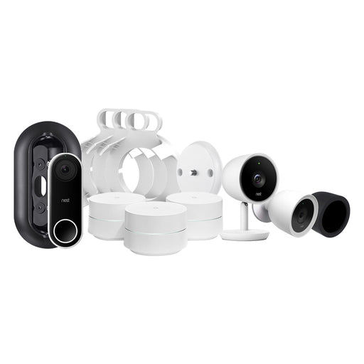 Nest Cam IQ Outdoor and Indoor, Video Doorbell and Google WiFi Bundle