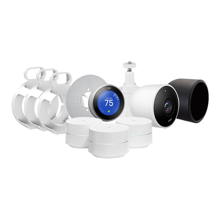 Nest Cam Outdoor, Nest Thermostat and Google WiFi Bundle