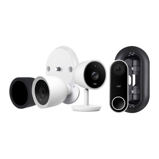 Nest Cam IQ Outdoor Camera, Nest Cam IQ Indoor Camera, and Nest Hello Video Doorbell Bundled with Black Silicone Skin, Magnetic Wall Mount, Wall Plate, and Adjustable Angle Wall Mount | Wasserstein Home