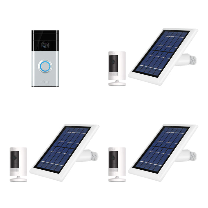Ring Video Doorbell 3 and Ring Stick Up Cam Battery with Solar Panel Bundle