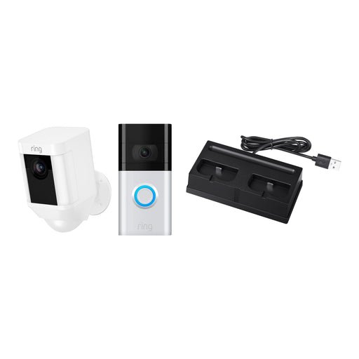 Ring Video Doorbell 3 and Ring Spotlight Cam Battery with Battery Charging Station Bundle