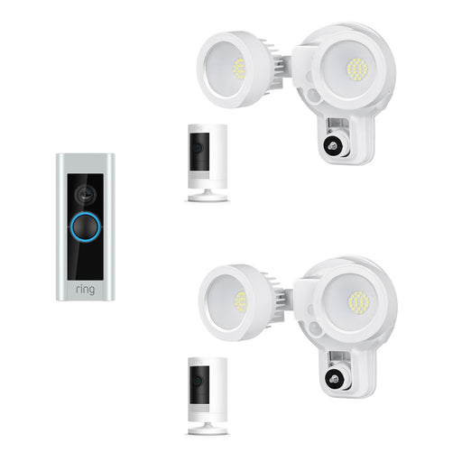 Ring Video Doorbell Pro and Ring Stick Up Cam Battery with Floodlight Bundle