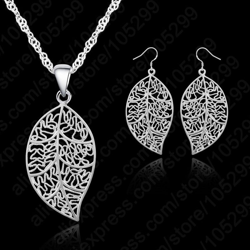 Trendy 925 sterling silver jewellery set consists of leaf pendant trendy 925 sterling silver jewellery set consists of leaf pendant necklace and earrings mozeypictures