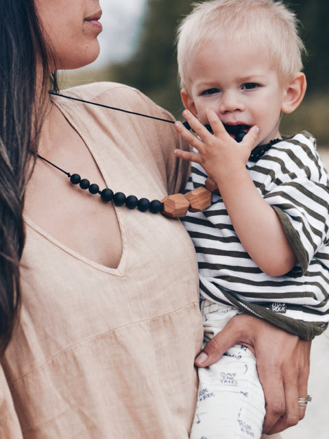 Based in Malta & Denmark, Grech & Co. Teething Necklace for Mum to wear - Baby to chew.  Helps with emerging teeth and pain relief of sore gums, enabling mama style with baby.  Ideal for Nursing mums to wear for distracting baby while breast feeding.