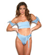 blue bardot style bandeau and off the shoulder bikini top