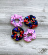 printed hair scrunchies. Hair accessories.