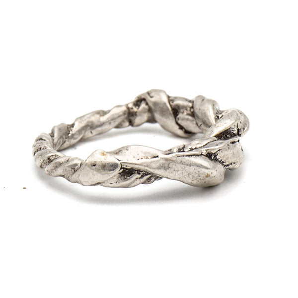 Twisted Rope with Knot Ring (Sterling Silver)