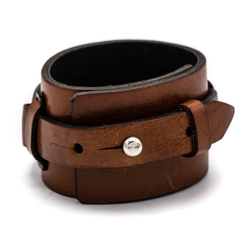 Leather Stirling Oval Cuff (Brown)