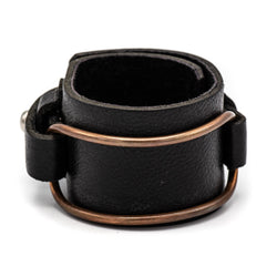 Leather Copper Oval Cuff (Black)
