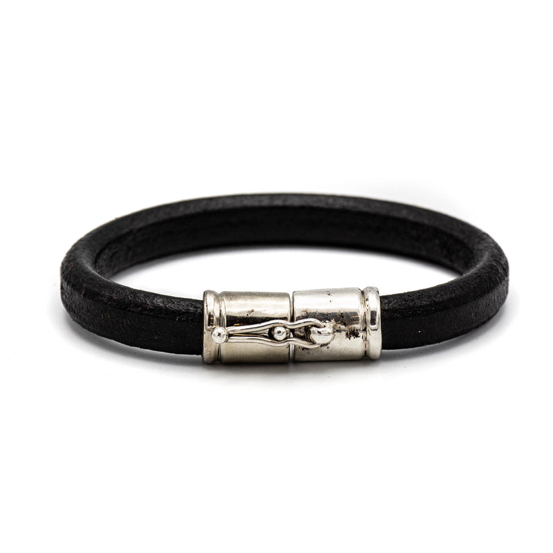 Single Cuff Leather Bracelet (Black)
