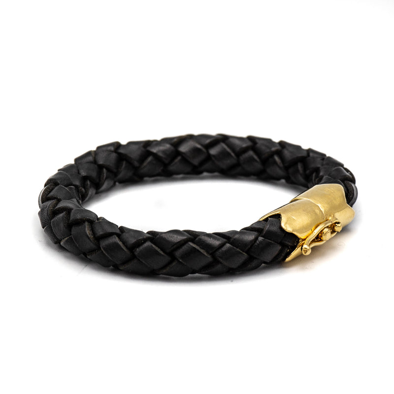 Braided Leather Single Wrap Bracelet (Black)
