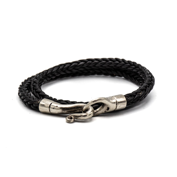 Double Wrap Braided Bracelet (Black)