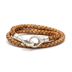 Double Wrap Leather Braided Bracelet (Brown)